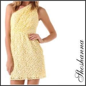 SHOSHANNA Yellow Lace Alexis One Shoulder Dress